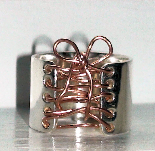 Corset Ring Copper & Sterling Silver with Bow