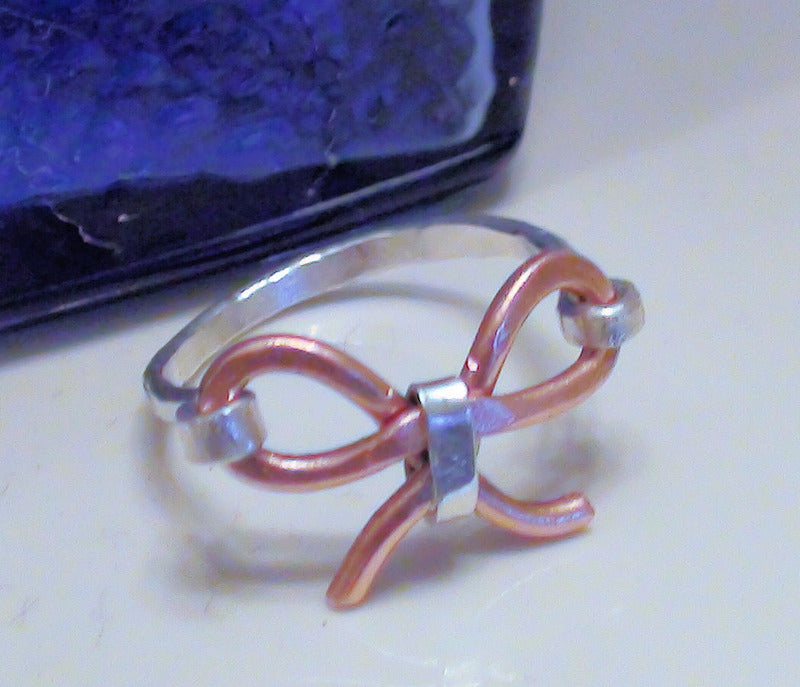 Handmade Copper Bow Ring with Sterling Silver Band