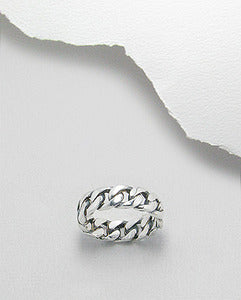 Sterling Silver Curb Link Band Ring
