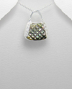 Quilted Shell Cz & Sterling Purse Pendant Necklace