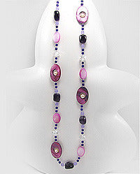 Amethyst Crystal Glass Fresh Water Pearl Necklace