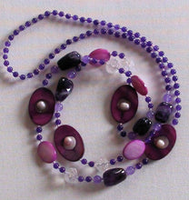 Load image into Gallery viewer, Amethyst Crystal Glass Fresh Water Pearl Necklace