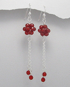 Red Agate Faceted Bead Dangle Earrings Sterling Silver