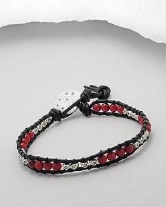 Coral & Sterling Silver Bead Friendship Leather Bracelet with Disc Charm