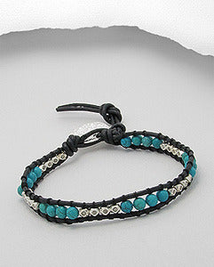 Turquoise & Sterling Silver Bead Friendship Leather Bracelet with Disc Charm