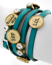 Load image into Gallery viewer, Gold-tone Turquoise Faux Leather Clear Rhinestone BFF Friendship Wrap Bracelet