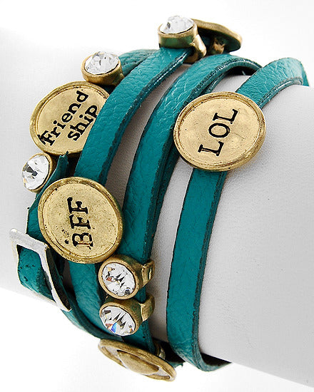 Gold-tone Turquoise Faux Leather Clear Rhinestone BFF Friendship Wrap Bracelet