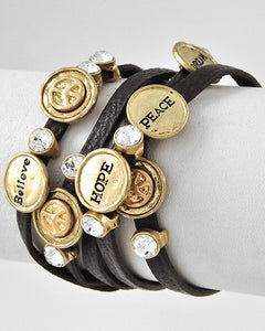 Gold tone Brown Faux Leather Clear Rhinestone Believe Hope Peace Wrap Bracelet