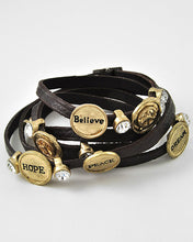 Load image into Gallery viewer, Gold tone Brown Faux Leather Clear Rhinestone Believe Hope Peace Wrap Bracelet