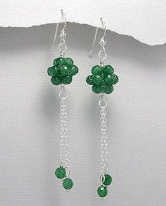 Aventurine Faceted Bead Dangle Earrings Sterling Silver