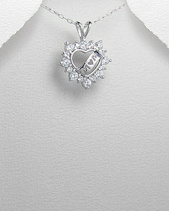 Mom CZ Heart Pendant Necklace