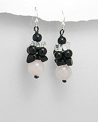 Moonstone, Onyx and Clear Glass Dangle Earrings Sterling Silver