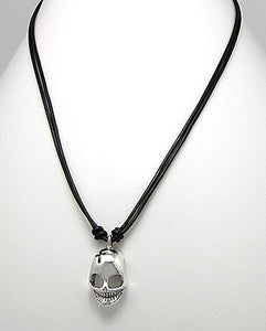 Sterling Silver Skull Necklace Black Leather Cord Goth Halloween