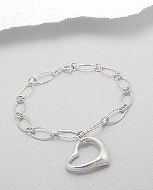 Gift for Mom Jewelry Open Heart Charm Bracelet Sterling Silver