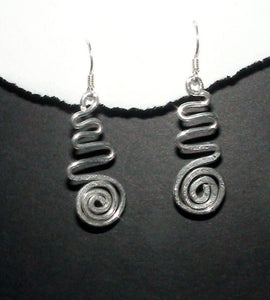 Sterling Silver Hammered Swirl & Wave Dangle Earrings