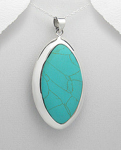 Huge Turquoise Oval Drop Pendant Sterling Silver