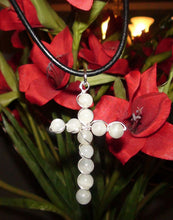 Load image into Gallery viewer, Moonstone Sterling And Black Leather Cross Necklace
