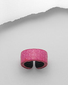Pink Leather Snakeskin Band Ring