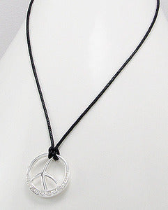 Contemporary CZ Peace Sign Cotton Necklace Sterling