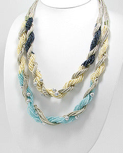 Seed Bead Cotton Silvertone Bead Double Twisted Necklace