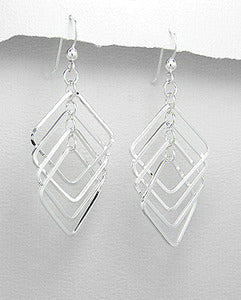 Sterling Silver Squares Dangle Drop Earrings