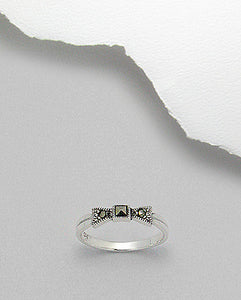 Marcasite mini Bow Ring Sterling Silver