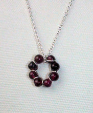 Load image into Gallery viewer, Dainty Garnet Bead and Sterling Wire Circle Necklace