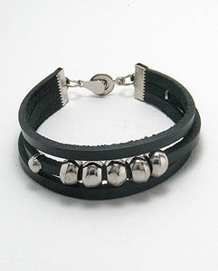 Triple Strand Deep Black Leather Silver Tone Beads Magnetic Closure Bracelet