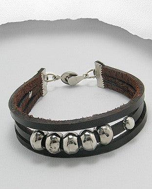 Triple Strand Rich Brown Leather Silver Tone Beads Magnetic Closure Bracelet