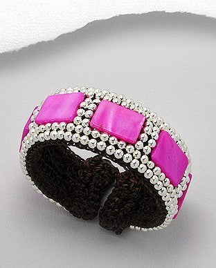 Fuschia Pink  Mother Of Pearl Silver Tone Beads Cuff Bracelet