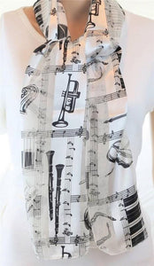 Musical Instruments Piano Sheet Music Scarf Satin Polyester Black White