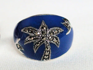 Enamel Marcasite Palm Tree Dome Ring Size 7