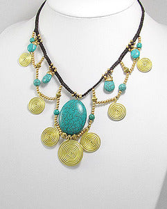 Turquoise Brass Swirl Beaded Necklace