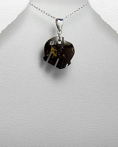 Wood Sterling Elephant Necklace wtih Crystal Eye
