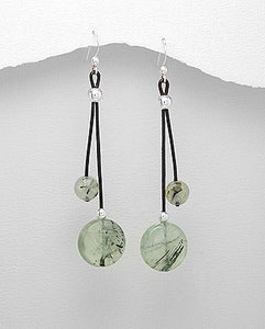 Faceted Prehnite Leather Sterling Silver Long Dangle Frenchwire Earrings