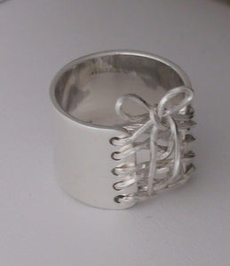 Handmade Sterling Silver Wide Band Wired Corset Ring