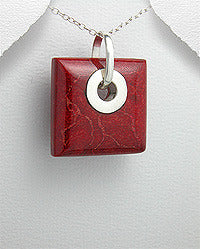 Square Red sponge coral Pendant Sterling
