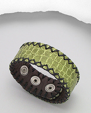 Green Leather Strap Bracelet Adjustable Snap Closure