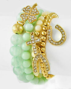 Mint Green Bead Rhinestone Cross Shamrock Horseshoe Wishbone Charm 4 pc Bracelet