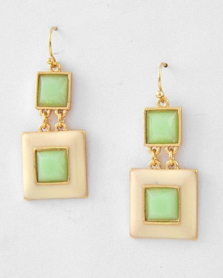 Gold Tone Mint Green Acrylic Cream Enamel Double Square Dangle Drop Earrings