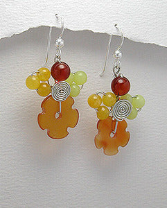 Sterling Carnelian & Multi Colored Jade Dangle Earrings