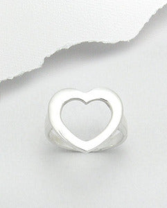 Sterling Silver Cut Out Single Heart Ring