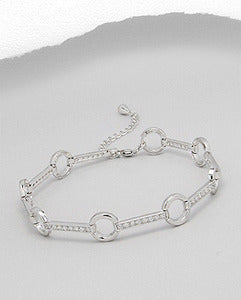 CZ Bar and Circle Bracelet Sterling Silver