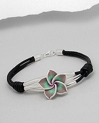 Fimo Art Clay Flower leather & Sterling Bracelet