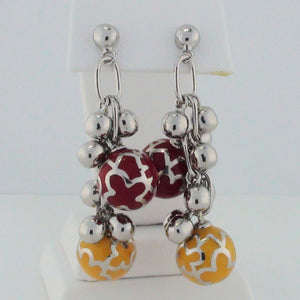 Designo Red and Yellow Sterling Silver Ball Dangle Earrings