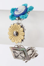 Load image into Gallery viewer, Silvertone Vintage Cameo, Flowers, MOP Link Bracelet