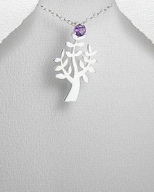 Sterling Silver Faceted Round Amethyst Tree Pendant