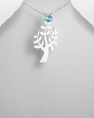 Sterling Silver Faceted Round Blue Topaz Tree Pendant Necklace