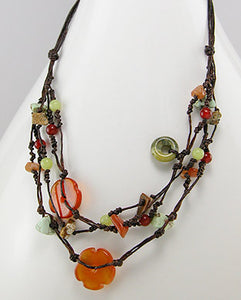 Carnelian, Jasper, Jade Cotton Necklace