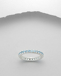 Blue Topaz Eternity Band Ring Sterling Silver 925